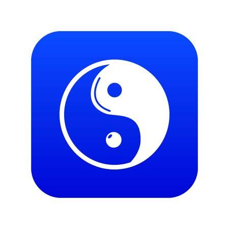 Yin yang symbol taoism icon blue vector