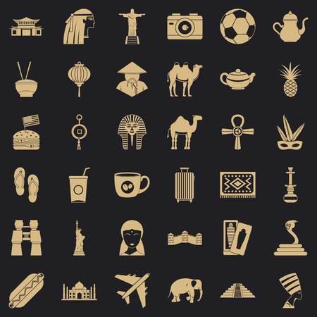 Tour icons set, simple style