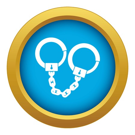 Handcuffs icon blue vector isolated on white background for any design