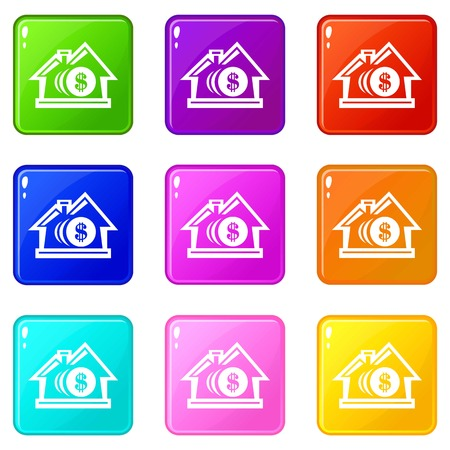 Bank icons set 9 color collection Illustration