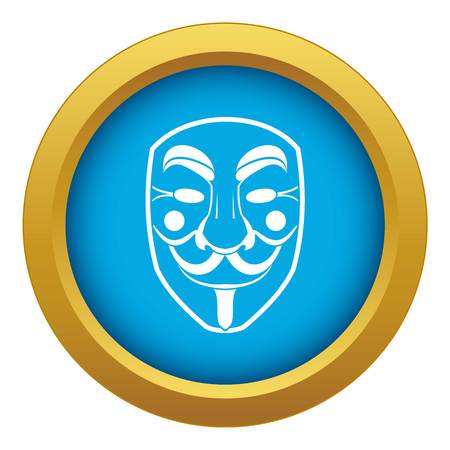 Vendetta mask icon blue vector isolated