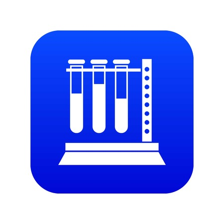 Medical test tubes in holder icon digital blue