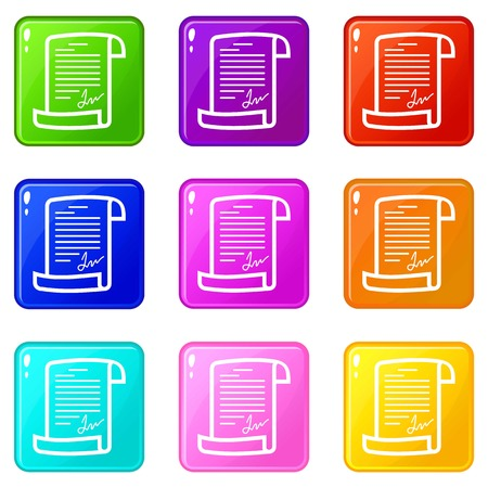 Agreement icons set 9 color collection Stock Vector - 121460195