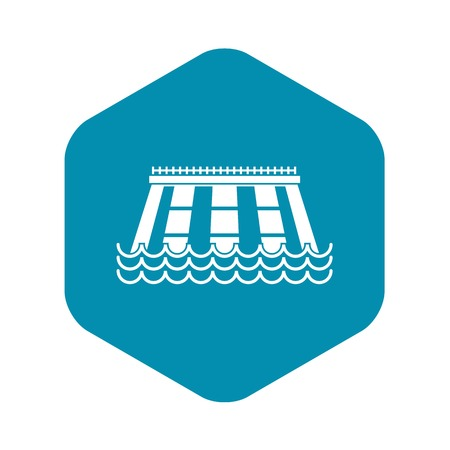 Icona della centrale idroelettrica. Illustrazione semplice dell'icona di vettore della centrale idroelettrica per il web
