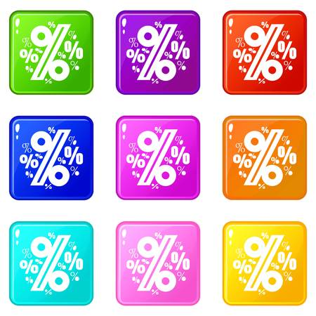 Percentage icons set 9 color collection Ilustração