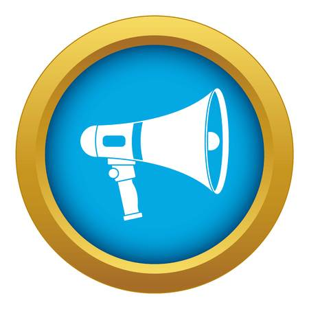 Megaphone icon blue vector isolated on white background for any design