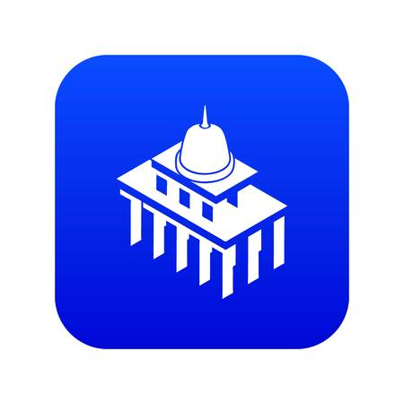 White house usa icon blue vector isolated on white background Illustration