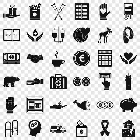 Help in donation icons set, simple style