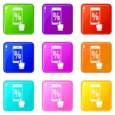 Percent on screen icons set 9 color collection Stock Vector - 121486996