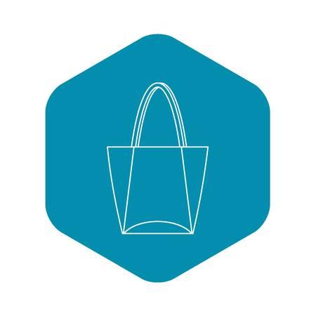 Icono de bolsa grande, estilo de contorno