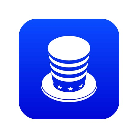 American conic hat icon blue vector isolated on white background