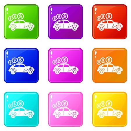 Car on credit icons set 9 color collection