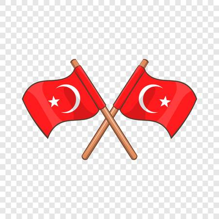 Turkey crossed flags icon. Cartoon illustration of Turkey flags vector icon for web design Banque d'images - 123055637