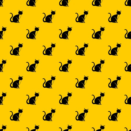 Black cat pattern seamless vector repeat geometric yellow for any design