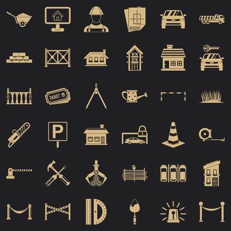 Fence icons set, simle style Illustration