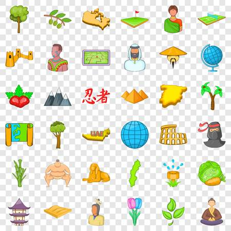 Save the earth icons set, cartoon style