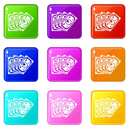 Money icons set 9 color collection