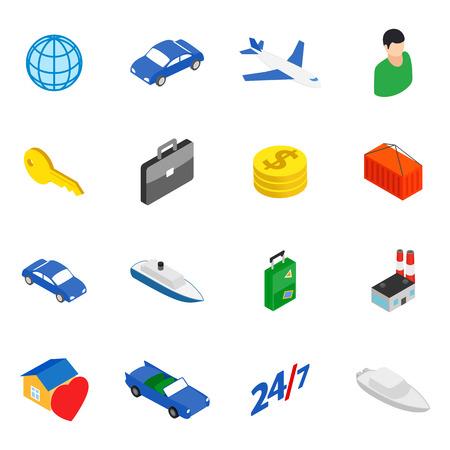 Movement icons set, isometric style