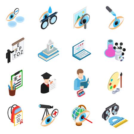 Eye treatment icons set. Isometric set of 16 eye treatment vector icons for web isolated on white background