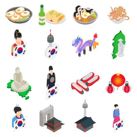 Korea icons set, isometric style