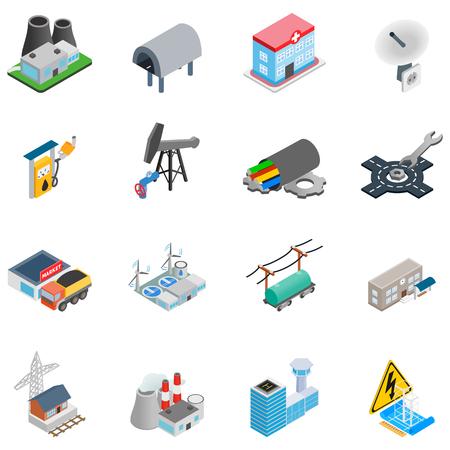 Chemical enterprise icons set, isometric style Illustration