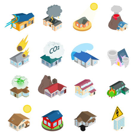 Dangerous environment icons set, isometric style