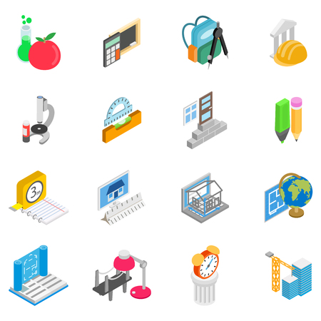 Tuition icons set. Isometric set of 16 tuition vector icons for web isolated on white background