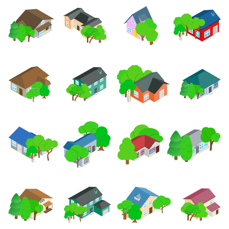 Living space icons set. Isometric set of 16 living space vector icons for web isolated on white background