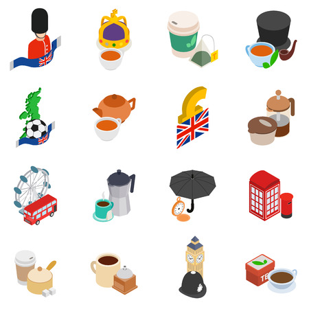 Great britain icons set. Isometric set of 16 great britain vector icons for web isolated on white background