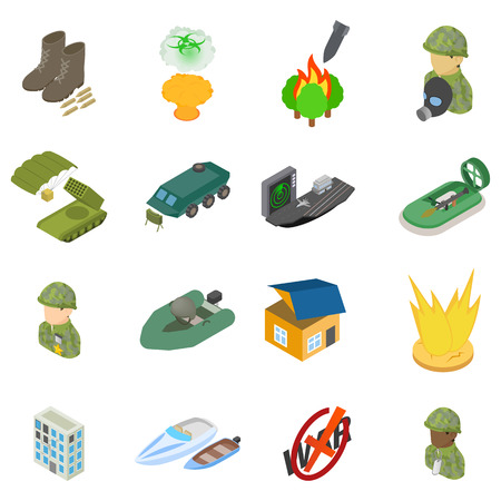 Military science icons set, isometric style