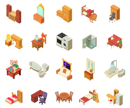 Apartment icons set. Isometric set of 20 apartment vector icons for web isolated on white background  イラスト・ベクター素材