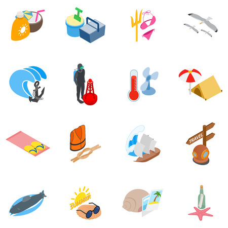 Sea route icons set. Isometric set of 16 sea route vector icons for web isolated on white background