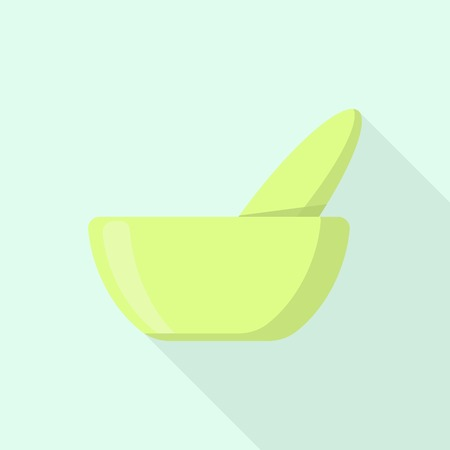 Aloe bowl icon. Flat illustration of aloe bowl vector icon for web design