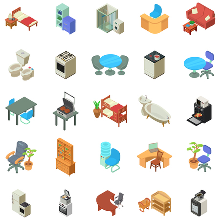 Home furniture icons set, isometric style  イラスト・ベクター素材