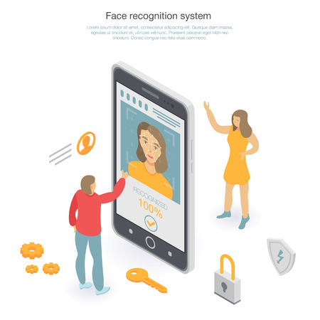 Face recognition concept background, isometric style Illustration