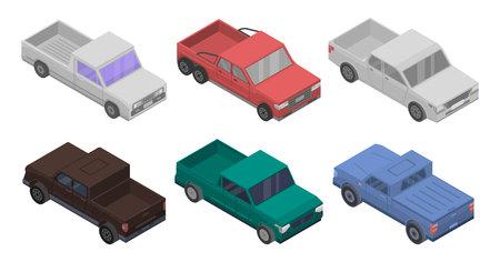 Pickup Icons Set, isometrischer Stil