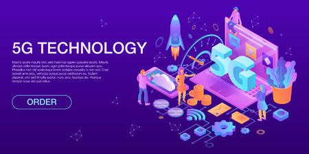 Modern 5G technology concept banner, isometric style