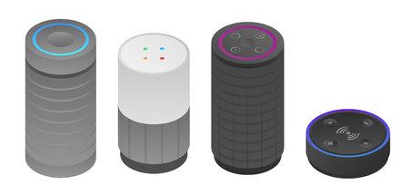 Intelligente Lautsprechersymbole eingestellt, isometrischer Stil