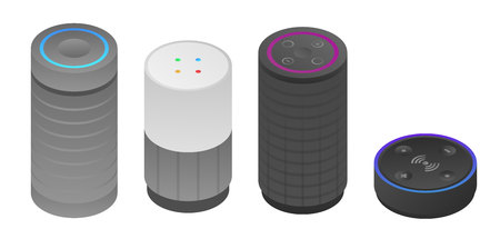 Smart speaker icons set, isometric style