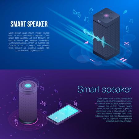 Modern smart speaker banner set, isometric style