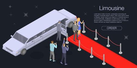 Banner de concepto de limusina personal. Ilustración isométrica de banner de concepto de vector de limusina personal para diseño web