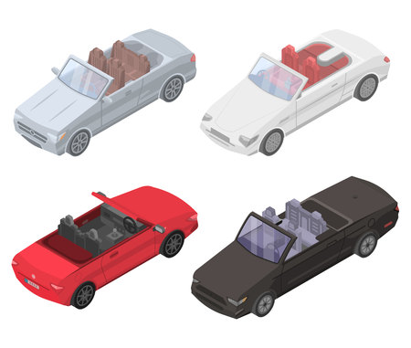 Cabriolet car icons set. Isometric set of cabriolet car vector icons for web design isolated on white background