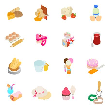 Baker icons set. Isometric set of 16 baker vector icons for web isolated on white background
