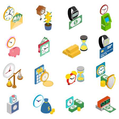 Cash time icons set, isometric style