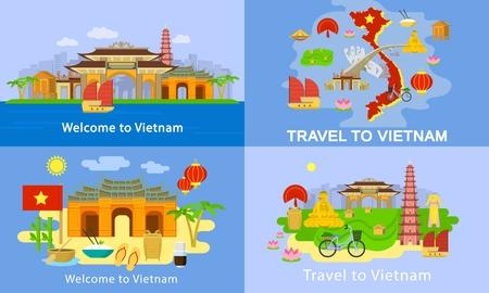 Vietnam-Banner-Set, flacher Stil