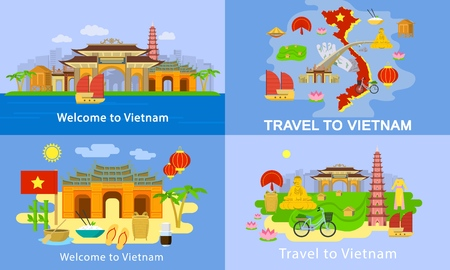 Vietnam banner set, flat style