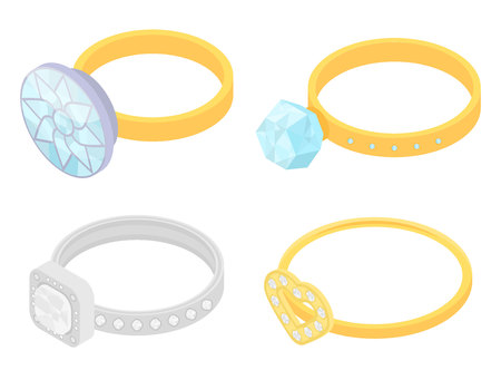 Diamond ring icons set. Isometric set of diamond ring vector icons for web design isolated on white background