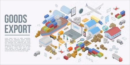 Banner de concepto de exportación de mercancías globales. Ilustración isométrica de banner de concepto de vector de exportación de bienes globales para diseño web Ilustración de vector