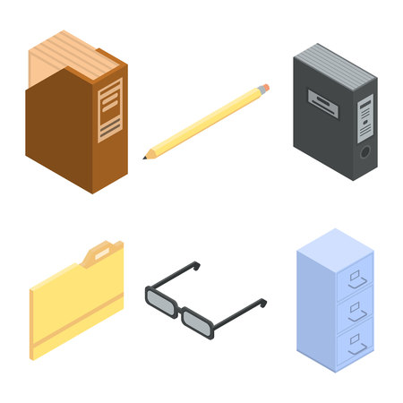 Ensemble d'icônes d'archives, style isométrique Vecteurs
