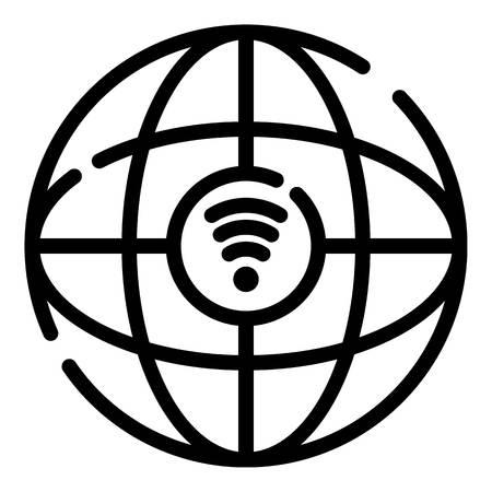 Globus and 5G network icon, outline style Zdjęcie Seryjne - 124124015
